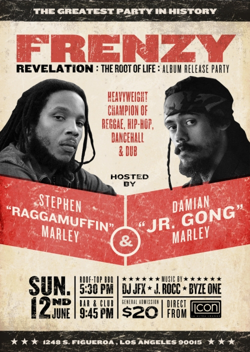 Sunday, June 12th, 2011 : Stephen and Damian Marley host FRENZY